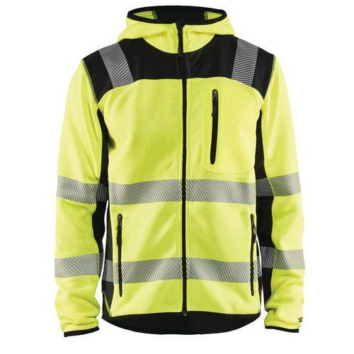 Veste tricotée à capuche haute visibilité jaune fluorescent/noir