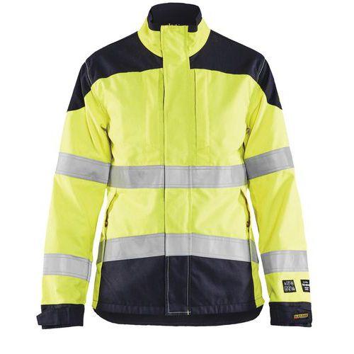 Veste multinormes inhérent femme jaune fluorescent/marine