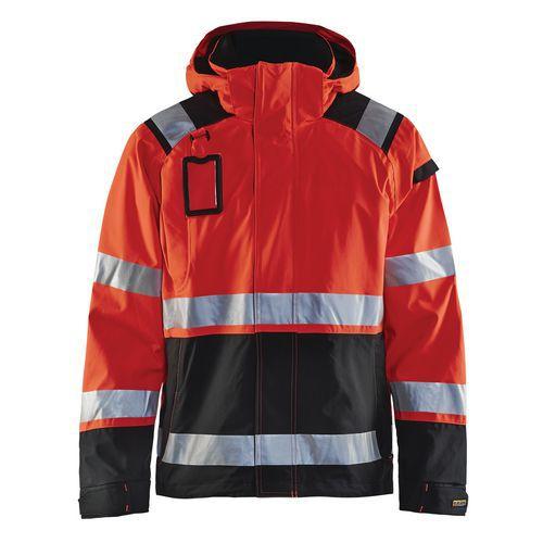 Veste hardshell haute visibilité rouge fluorescent/noir