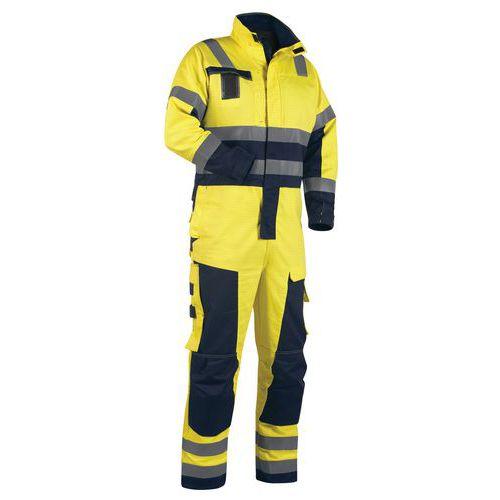 Combinaison manches longues hiver multinormes jaune fluorescent/marine
