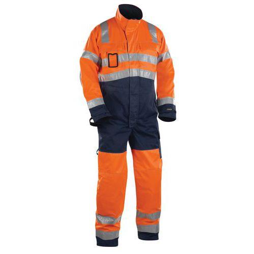 Combinaison manches longues haute visibilité orange fluorescent/marine