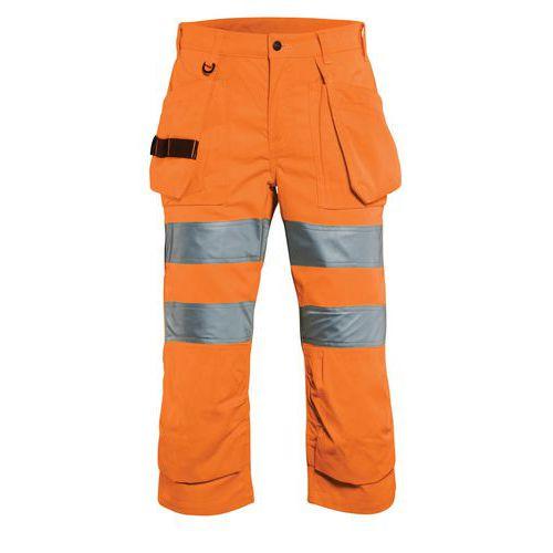 Pantacourt haute visibilité femme orange fluorescent