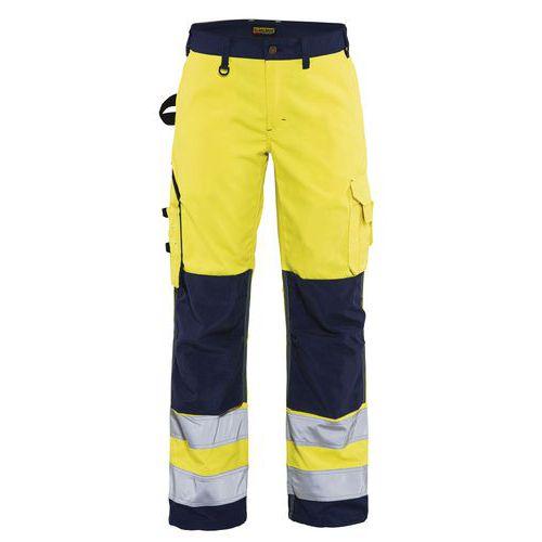Pantalon haute visibilité femme jaune fluorescent/marine
