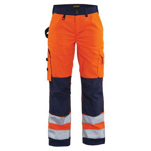 Pantalon haute visibilité femme orange fluorescent/marine