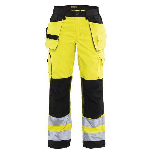 Pantalon haute visibilité femme jaune fluorescent/noir, poches larges