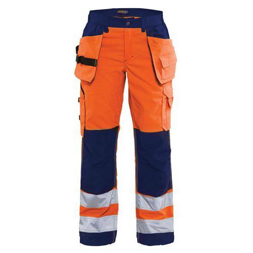 Pantalon haute visibilité femme orange fluo/marine, poches larges