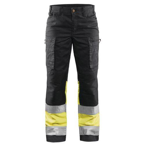 Pantalon haute visibilité stretch femme noir/jaune fluorescent