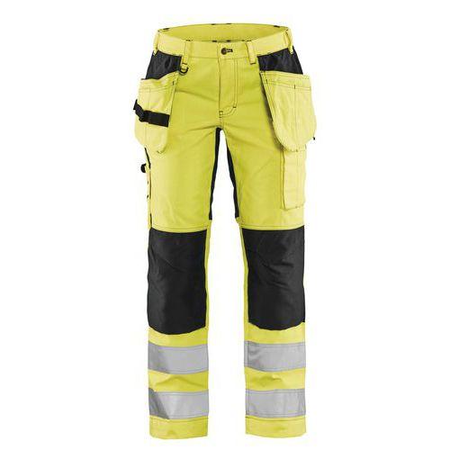 Pantalon haute visibilité stretch femme jaune fluorescent/noir