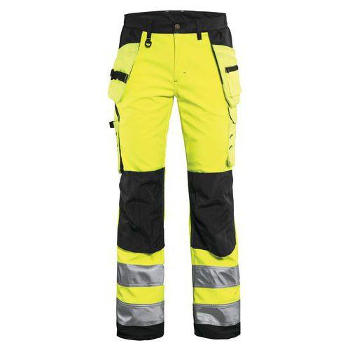 Pantalon softshell haute visibilité femme jaune fluorescent/noir