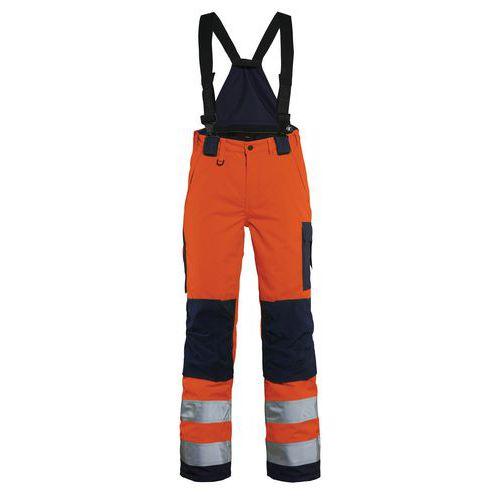 Pantalon hiver à bretelles haute visibilité femme orange/marine