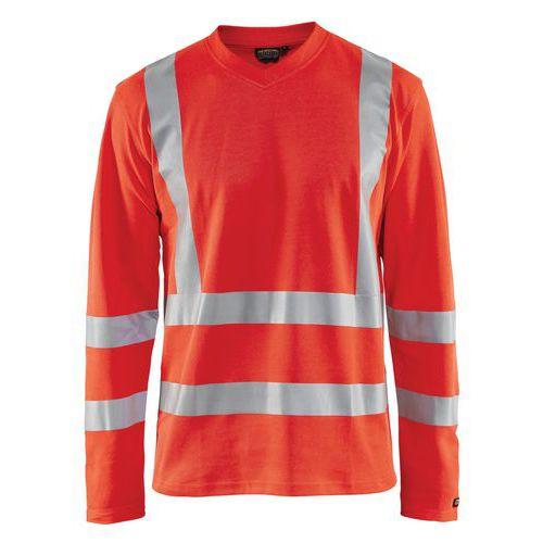 T-shirt manches longues anti-UV haute visibilité rouge fluorescent