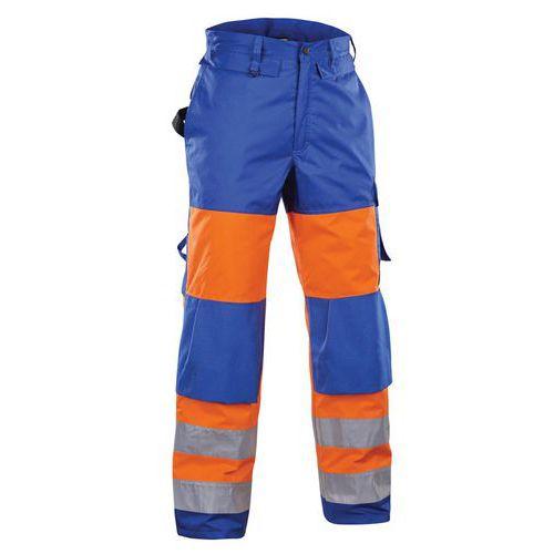 Pantalon hiver haute visibilité orange fluorescent/bleu roi