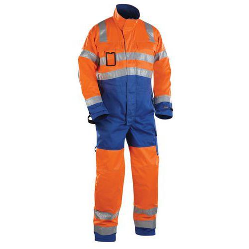Combinaison manches longues haute visibilité orange/bleu roi