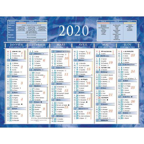 Calendrier semestriel mural 2020 6 mois rectoverso bleu