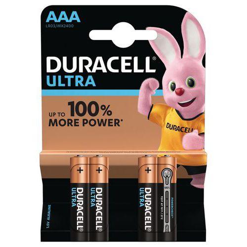 Pile Alcaline Ultra Power AAA LR3 - Pack de 4 - Duracell