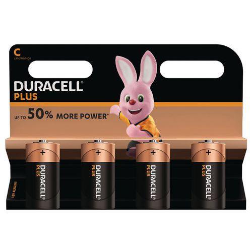 Pile alcaline Plus Power C LR14 - Pack de 4 - Duracell