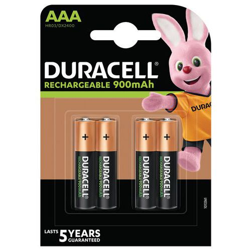 Pile rechargeable Ultra 850 mAh AAA LR3 - Pack de 4 - Duracell