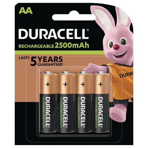 Pile rechargeable Ultra 2500 mAh AA LR6 - Pack de 4 Piles - Duracell