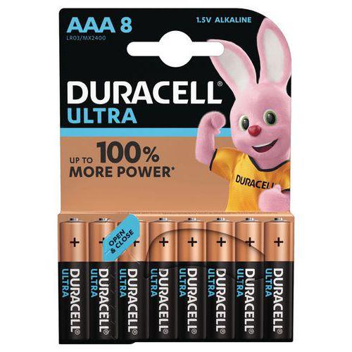Pile Alcaline Ultra Power AAA LR3  - Pack de 8 - Duracell