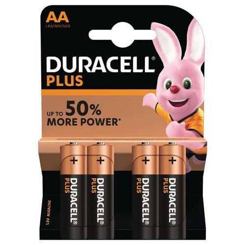 Pile Alcaline Plus Power AA LR6 - Pack de 4 - Duracell