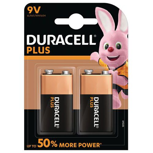 Pile Alcaline Plus Power 9V 6LR61 - Pack de 2 - Duracell