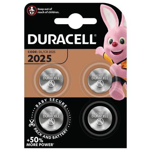 Pile bouton Lithium DL 2025 - Pack de 4 - Duracell