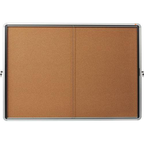 Vitrine d'intérieur Nobo à fond en liège 18 x A4