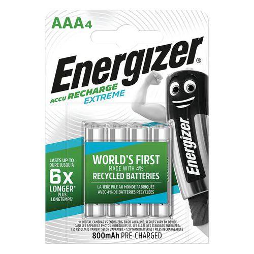 Pile rechargeable recyclée Extreme - AAA/LR03 - Lot de 4 - Energizer