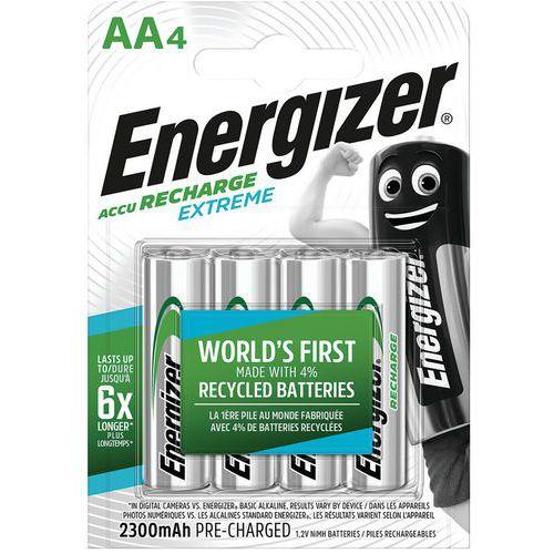 Pile rechargeable recyclée Extreme - AA/LR06 - Lot de 4 - Energizer