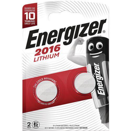 Pile lithium pour calculatrices - CR 2016 - Lot de 2 - Energizer