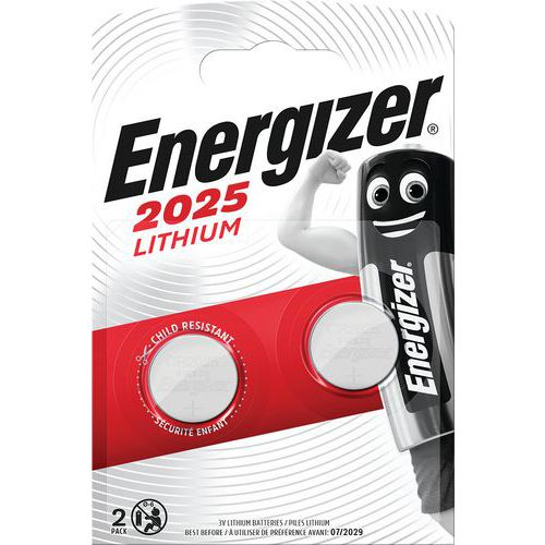 Pile lithium pour calculatrices - CR2025 - Lot de 2 - Energizer