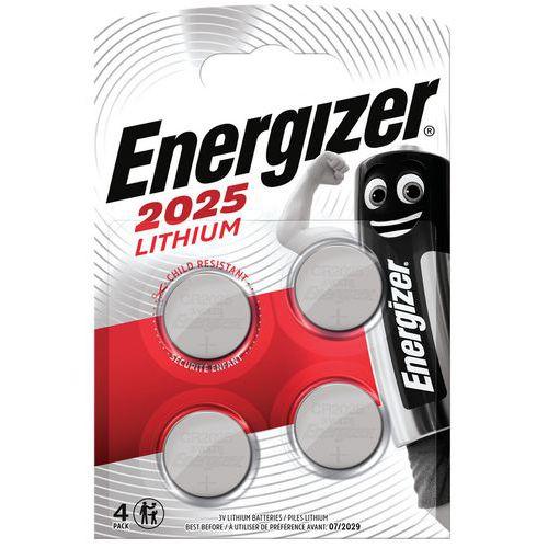 Pile bouton Lithium CR 2025 - Lot de 4 - Energizer