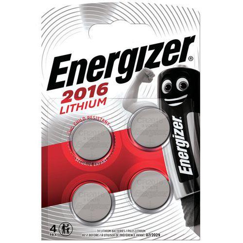Pile bouton Lithium CR 2016 - Lot de 4 - Energizer