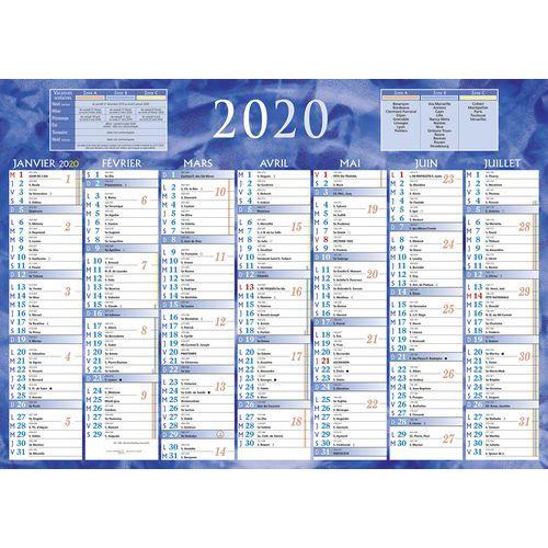 Calendrier 2020 7 mois rectoverso bleu 385 x 54 cm