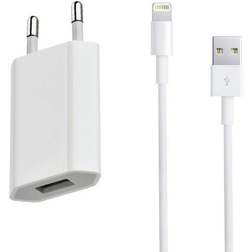 Chargeur secteur entrée USB + câble compatible iPhone 5 Blanc Moxie