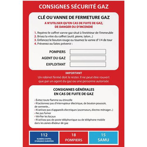 Poster consignes de sécurité GAZ