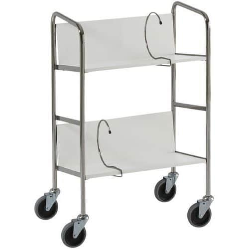 Chariot à classeurs - 2 plateaux - Capacité 75 kg