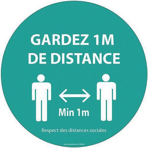 Panneau - Gardez 1m de distance - Rond