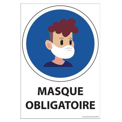 Panneau Port du masque obligatoire enfant + texte