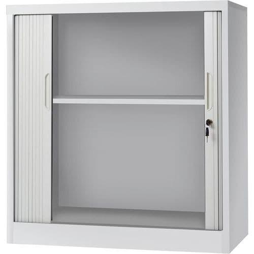 Armoire basse avec portes à rideaux - Gris clair - Manutan Aris