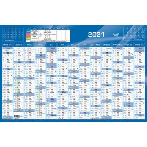 Calendrier annuel horizontal 65x43cm année 2021   Quo Vadis