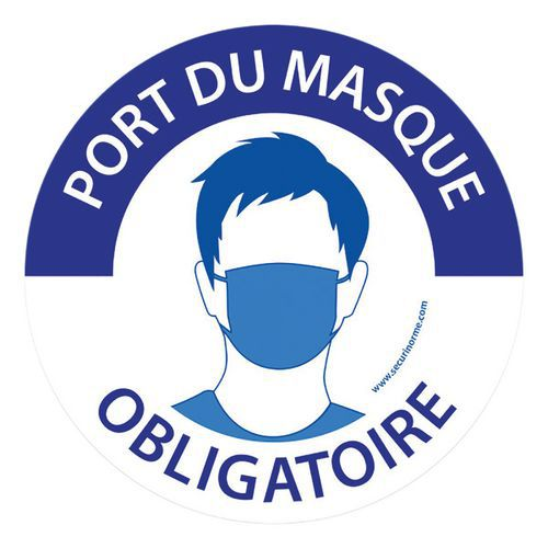 Pictogramme Port du masque obligatoire - bleu et blanc