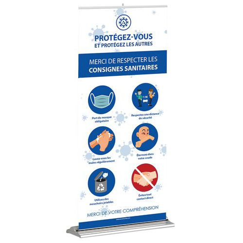Roll-up Consignes sanitaires gestes barrière 850 x 2000 mm