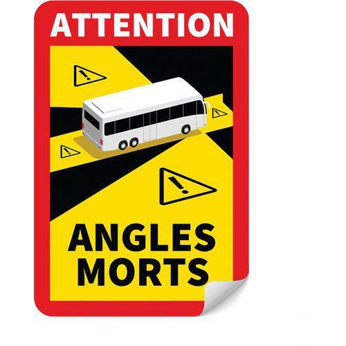 Panneau danger angles morts pour Bus - Adhésif - Lot de 5 - Novap